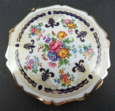 Vintage Stratton ENGLAND Compact FLORAL ENAMEL Makeup Box With Mirror