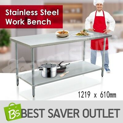 1219 x 610mm Commercial 430 Stainless Steel Work Bench Kitchen Food Prep Table