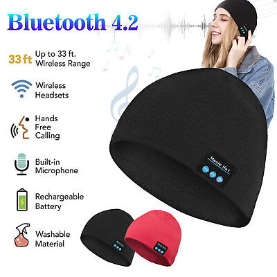 Bluetooth Music Cap Warm Beanie Hat Wireless Smart Headset Headphone Mic Speaker