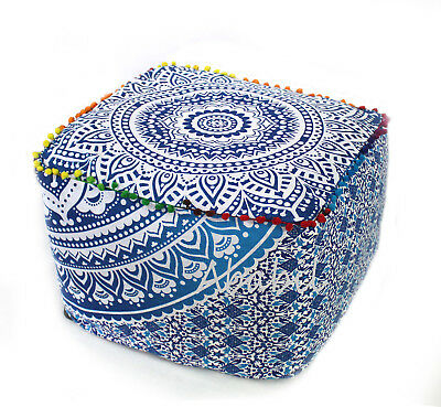 """New 22"""" Square Ottoman Pouf Cover Indian Blue Ombrey Mandala Indian Footstool"""