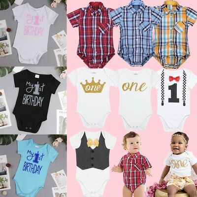 1st Birthday Outfit Boy.Baby Girl Boy First 1st Birthday Outfit Romper One Year