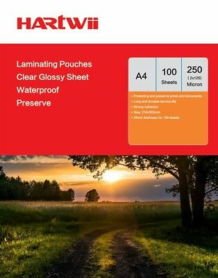 Hartwii 100 Sheet A4 Glossy Transparent Laminating Pouches Film 250 Micron AU