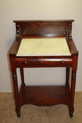 1815 Antique American Victorian Mahogany and Marble Top Washstand / one Drawer
