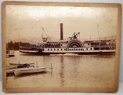 Vintage Cabinet Card Photo of the Horicon Steamer Steamboat, Ship, River, Boat