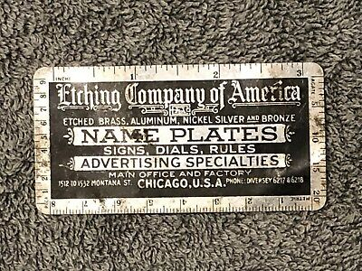 Antique Old ETCHING COMPANY OF AMERICA Metal Advertising Sign