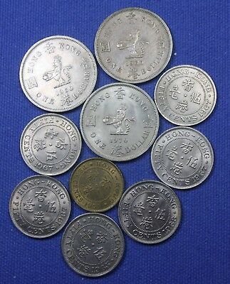 10 coin lot from Hong Kong....1951 - 1970