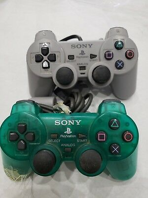 2X Official OEM Sony PS1 or PS2 OEM  Controller Grey SCPH-1200 TESTED