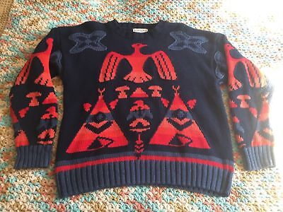 VINTAGE Woods & Gray Native American Wool Knit Sweater - Size Men's LARGE