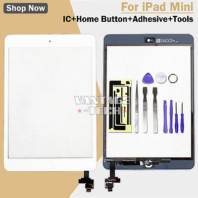 REPLACEMENT WHITE For APPLE IPAD MINI 1 & 2 LCD TOUCH SCREEN DIGITIZER IC LENS