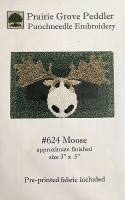 Prairie Grove Peddler Punch Needle Embroidery Moose Pre Printed Fabric