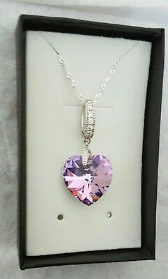 383b02360e86 925 Sterling Silver Necklace   Heart 18mm Vitrail Light Crystals from  Swarovski