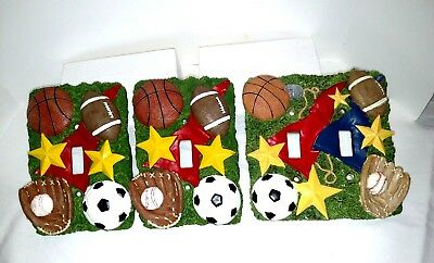 3 D Sports Theme Ceramic Light Switch Covers Lot Of 3  (2) Single & (1) Double