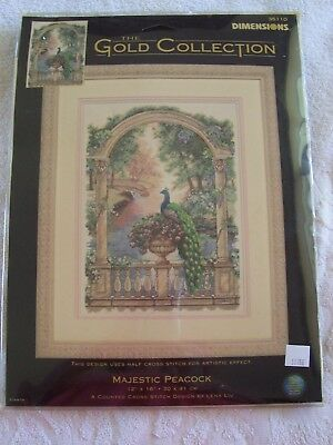 DIMENSIONS THE GOLD COLLECTION MAJESTIC PEACOCK KIT  UNWORKED No. 35110