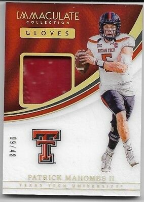 2017 Immaculate Collegiate PATRICK MAHOMES Gloves Relic #'d 09/49