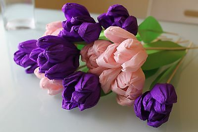 A Bouquet Of Handmade Crepe Paper Tulips - Purple & Light Pink