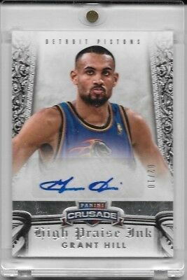 2013-14 Crusade GRANT HILL High Praise Ink Auto Silver Parallel #'d 02/10