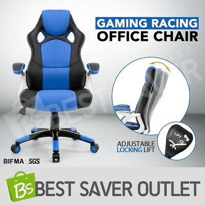 PU Leather Office Computer Chair Gaming Racing Executive Desk Swivel Seat Blue