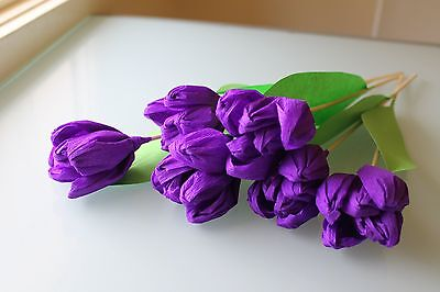 A Bouquet Of Handmade Crepe Paper Tulips - Purple