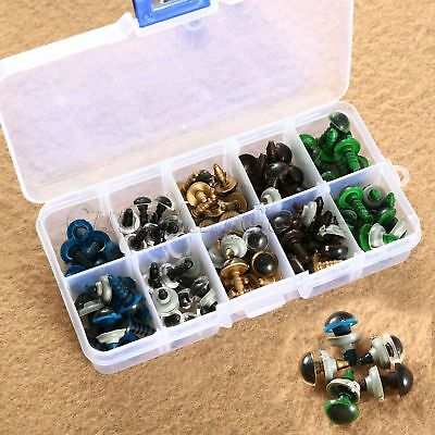 100PCS 10/12mm Plastic Safety Eyes for Teddy Bear Doll Puppet Mixed Colour + Box