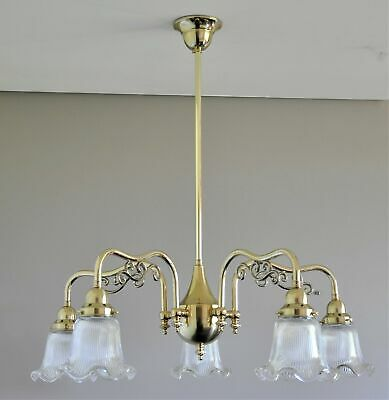 Ashley-Victorian 5 Arm Pendant Light-Solid Polished Brass-Clear Shade-Chandelier