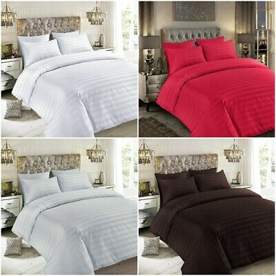 Sateen Stripe 500 Thread Count Duvet Cover Set 100% Egyptian Cotton Quilt Bed