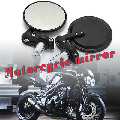 "7/8"" Pair Universal Motorbike Bar End Rearview Mirrors Motorcycle/bike Black Spm"