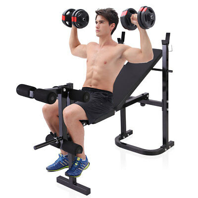 Folding Weight Bench With Rack Home Workout Adjustable Lifting Strength
