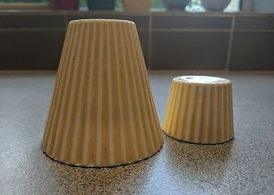 RETRO VINTAGE ANTIQUE SALT and PEPPER SHAKERS Yellow Round Rays Made in Japan
