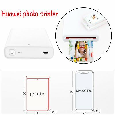 Huawei Portable Zink Photo Printer Racket Bluetooth+10pc Sticker for IOS Android