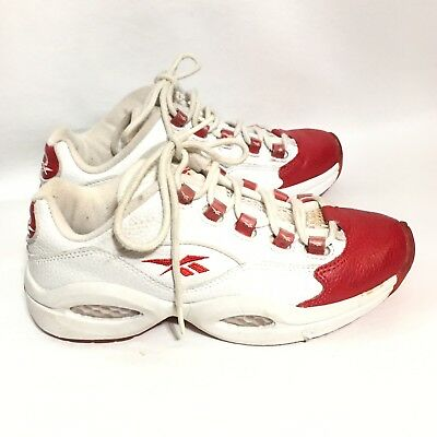 c0ad9d98a721 Allen Iverson Reebok Questions Pearlized Red   White Men Youth Size 4.5 Good
