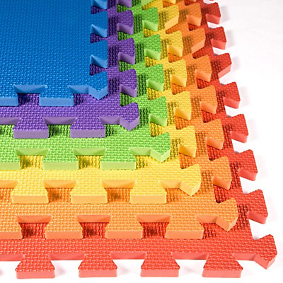 Rainbow Foam Tiles 30 Pack - 2ft x 2ft Interlocking Foam Childrens New