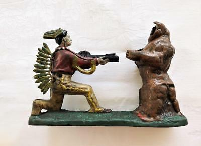 Cast Iron Indian And Bear Mechanical Money Bank - Reproduction - For Repair