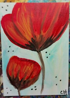 FLORAL ACEO POPPIES  FLOWERS #301 ORIGINAL OUTSIDER ACRYLIC PAINT 2000-now