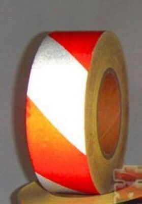 DCP Safety Reflective Twill Strip Tape, Red/White,  2 inch. x 10ft Roll