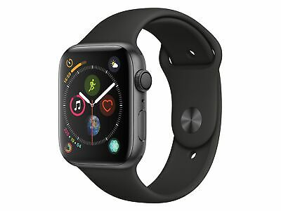 Apple Watch Series 4, 44 mm, Aluminiumgehäuse space grau, Sportarmband schwarz