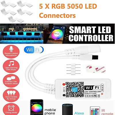 Wifi RGB LED Smart Strip Controller L Shape 5050 RGB Connector IR Remote Control