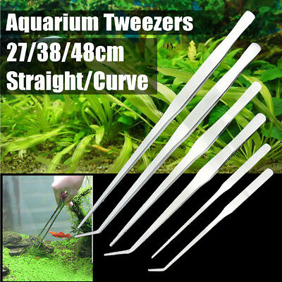 Stainless Steel Tweezers Aquarium Live Tank Curve Plant Long Tongs Scissor