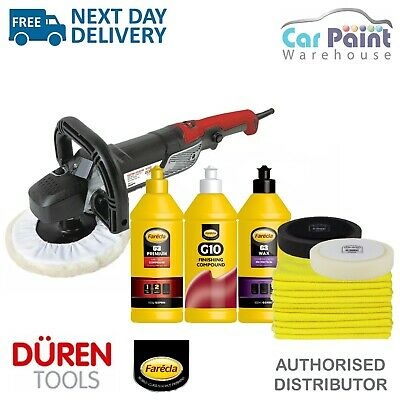 Duren Tools 321270 Electric Rotary Polisher 150mm Backing Pad 1200w FARECLA KIT