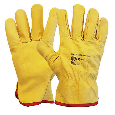 Premium Leather Yellow Driver Gloves Fleece Lined Lorry Driving Work Glove