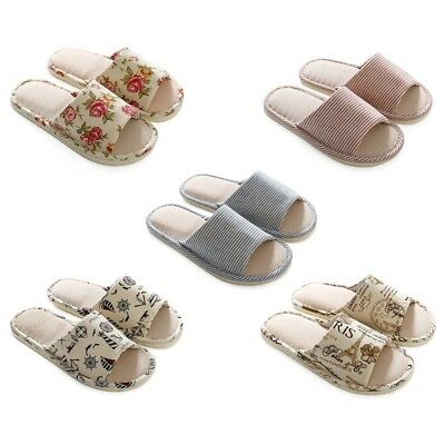 Womens Mens Linen Plaid House Indoor Slippers Home Warm Shoes Sandals Anti- Slip
