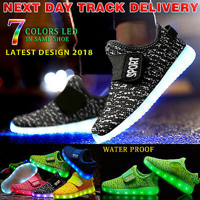 Kids Boys Girls Light Up Shoes LED Flashing Trainers Casual Sneakers Socks LOT
