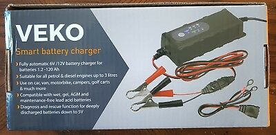 Veko Fully Automatic Smart Battery Charger, Trickle Charge Maintainer for 6V/12V