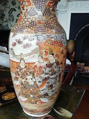 Pair Of Large Vintage Hand Painted Decorative CHINESE FLOWER VASES