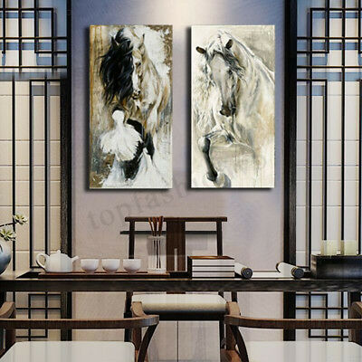 2Pcs Horse Hand-Painted Canvas Painting Print Art Wall Bedroom Decor No Frame 1