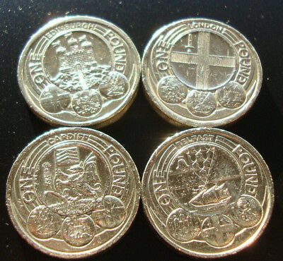 £1 One Pound Coin, Capital Cities Set, Rare Edinburgh, Cardiff, London, Belfast