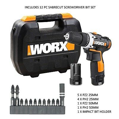 Worx 12v 2.0Ah Speed Drill Driver 1 Hour Charger and 12 SabreCut Impact Bits NEW