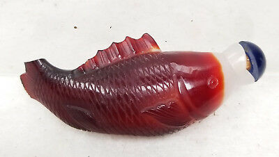 Antique Chinese Peking Glass Carved Overlay Koi Fish Snuff Bottle Red As Is