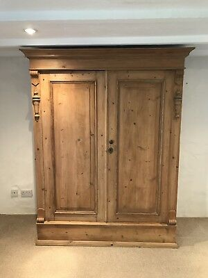 large antique pine Knockdown wardrobe, Lovely Condition. Can Be Dismantled Easil