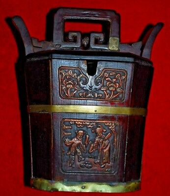 VINTAGE  oriental rice bucket wood with lid Tea Caddy Asian Chinese