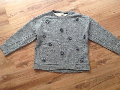 Girls Zara Soft Collections Grey Long Sleeved Jumper. 11-12 Years. Pom Poms